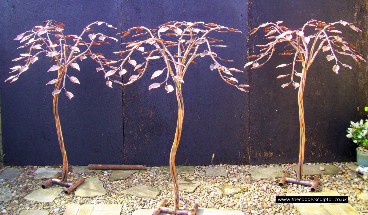 how to make a copper tree water feature